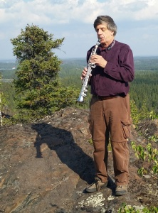 Atop Ranney Hill, near Yellowknife, with soprano saxophone. Summer 2015.