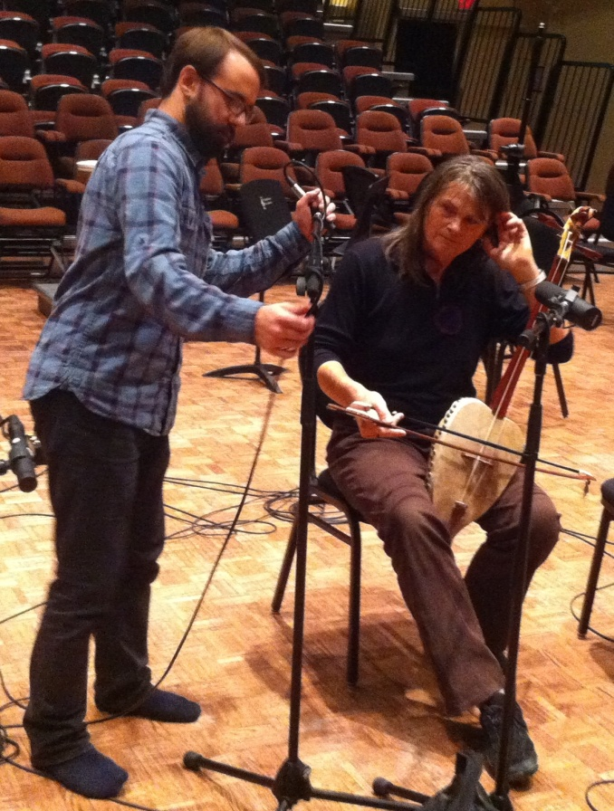 Engineer Zak Miley and igil player Catherine Thompson at Banff Centre 2013.